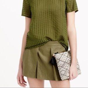 NWOT J. Crew Olive Green Linen Crossover Shorts